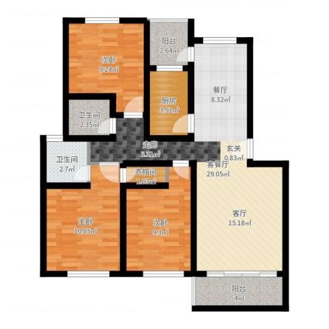 碧海红湖3室2厅2卫1厨94.00㎡户型图