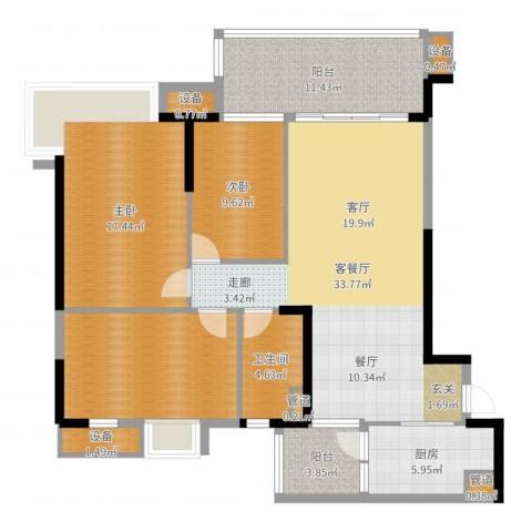 碧桂园凤凰城凤锦苑2室2厅1卫1厨130.00㎡户型图