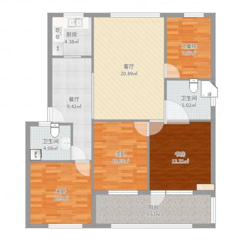 雅渡新村4室2厅2卫1厨119.00㎡户型图
