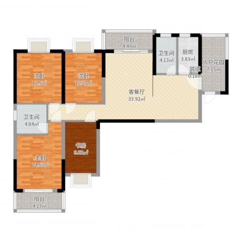 上海城黄浦花苑二期4室2厅2卫1厨136.00㎡户型图