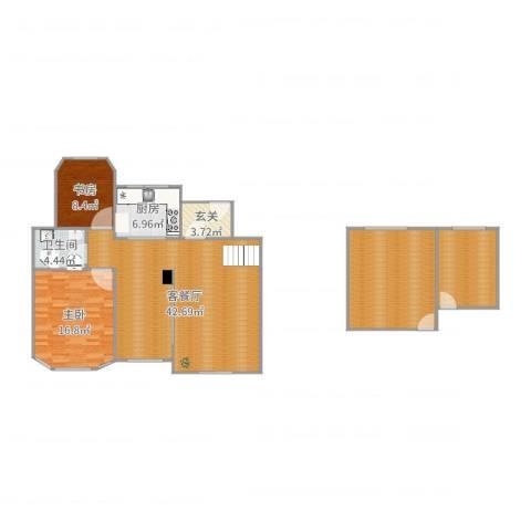 城置金色年华2室2厅1卫1厨140.00㎡户型图