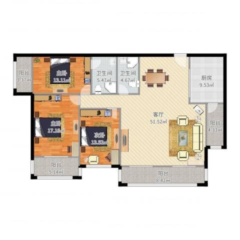 花市枣苑1-07户型3室1厅2卫1厨170.00㎡户型图