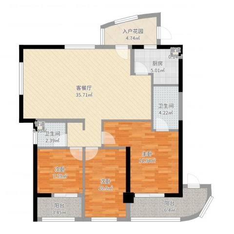 同城四季3室2厅2卫1厨120.00㎡户型图