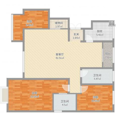 黄河龙城・半岛御境3室2厅2卫1厨126.00㎡户型图
