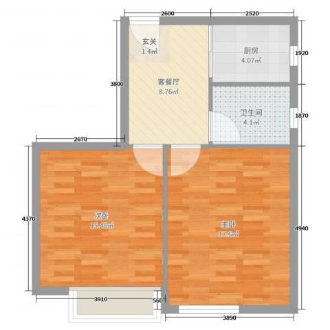 春竹大楼2室2厅1卫1厨64.00㎡户型图