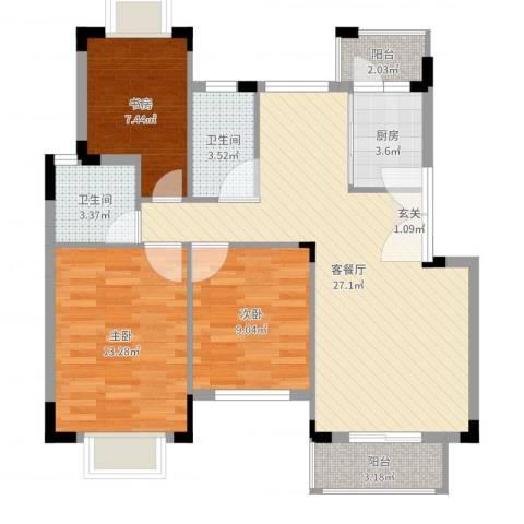 百盈花园3室2厅2卫1厨91.00㎡户型图