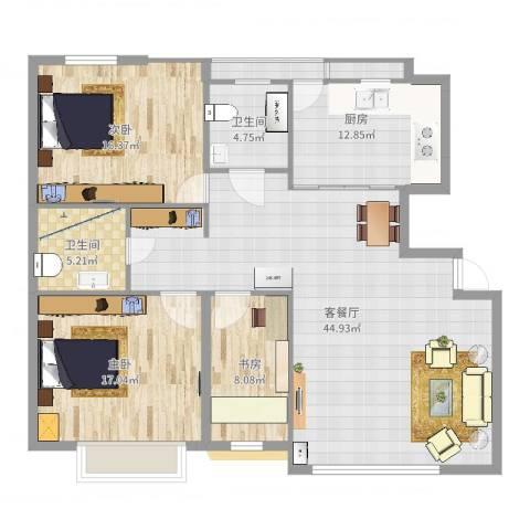 国信嘉邑3室2厅2卫1厨137.00㎡户型图