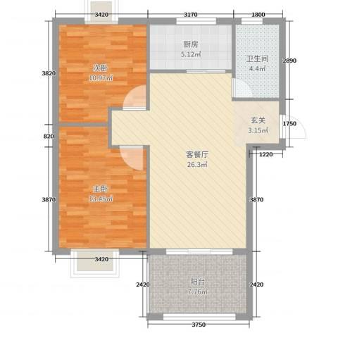 海南凯文・清水湾度假公馆2室2厅1卫1厨85.00㎡户型图
