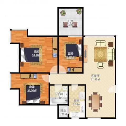 尚书苑3室2厅1卫1厨108.00㎡户型图