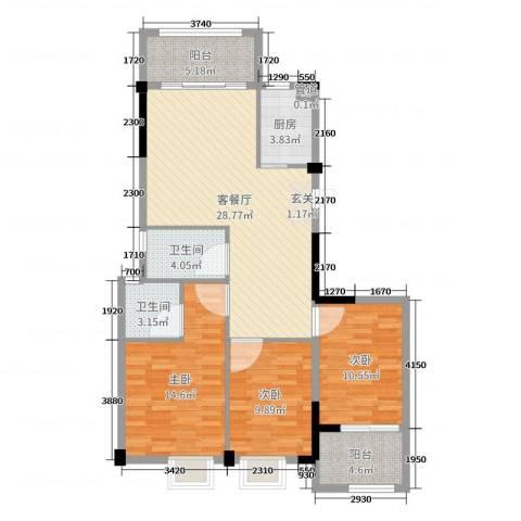 海滨壹号3室2厅2卫1厨116.00㎡户型图