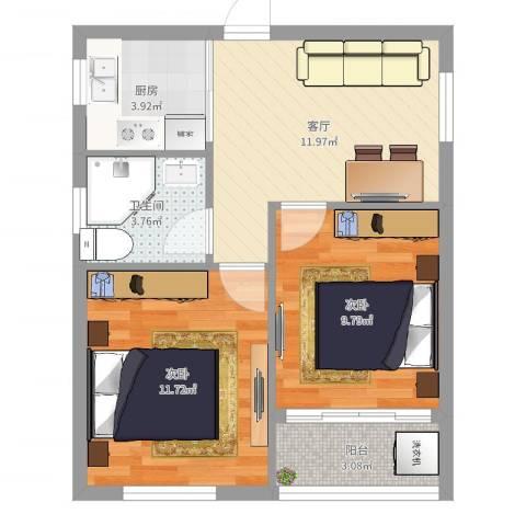 双东坊社区2室1厅1卫1厨55.00㎡户型图