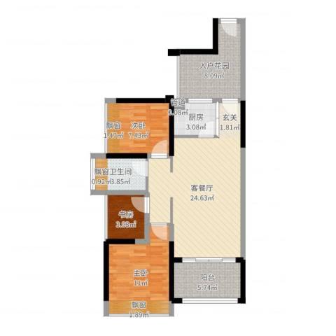 畔山名居・特区青年3室2厅1卫1厨85.00㎡户型图