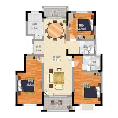七里香庭3室2厅2卫1厨136.00㎡户型图