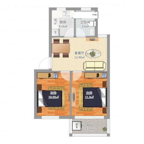 姚江花园2室2厅1卫1厨59.00㎡户型图
