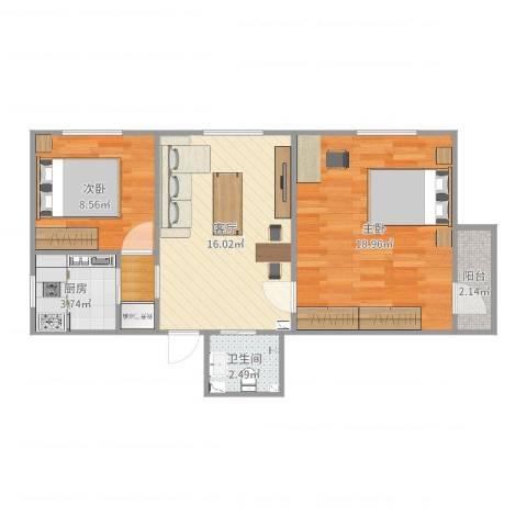 呼家楼北街2室1厅1卫1厨67.00㎡户型图