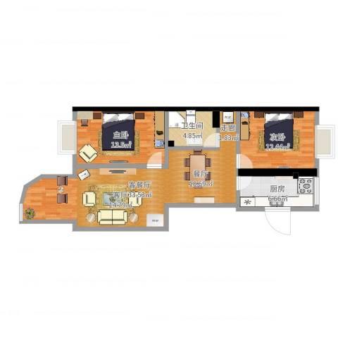 加华印象街2室2厅1卫1厨89.00㎡户型图