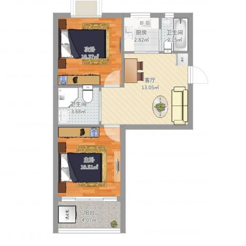 茗园一区2室1厅2卫1厨58.00㎡户型图