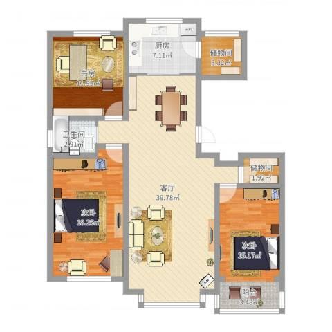 惠德花园3室1厅1卫1厨125.00㎡户型图