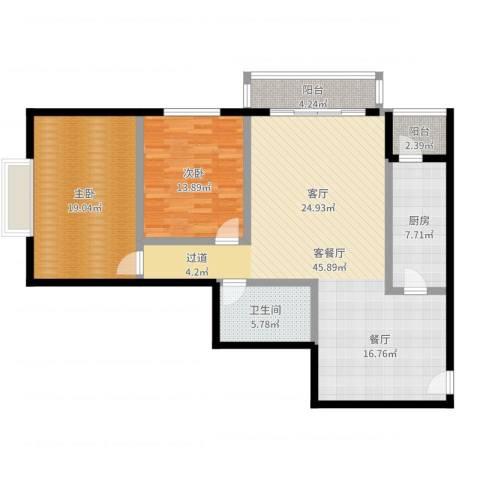 天天家园2室2厅1卫1厨124.00㎡户型图
