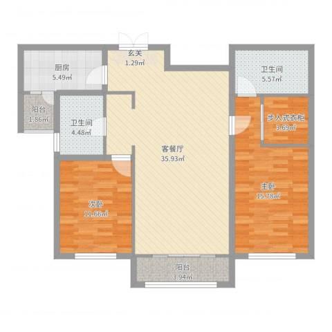 宏大观园2室2厅2卫1厨111.00㎡户型图