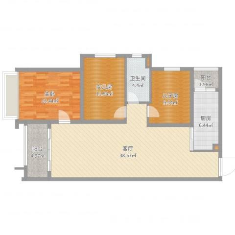 君华新城1室1厅1卫1厨114.00㎡户型图