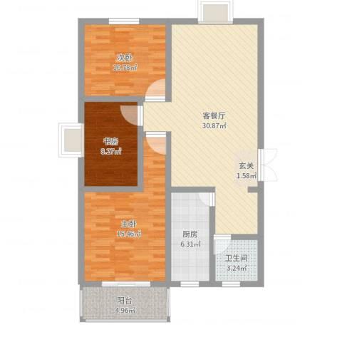盛景华都3室2厅1卫1厨100.00㎡户型图