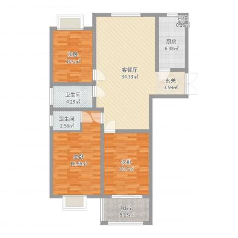 华厦水木阳光3室2厅2卫1厨117.00㎡户型图