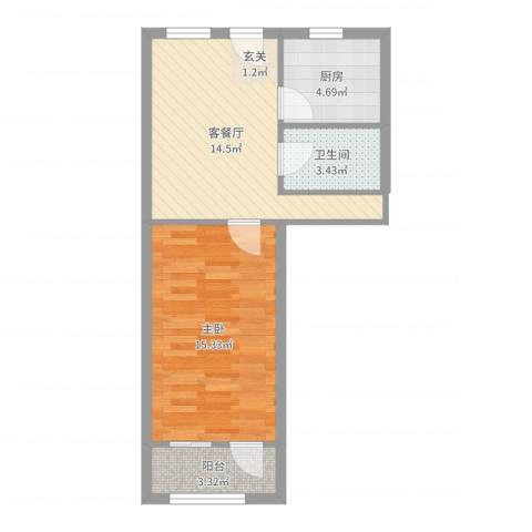 安慧里一区1室2厅1卫1厨52.00㎡户型图