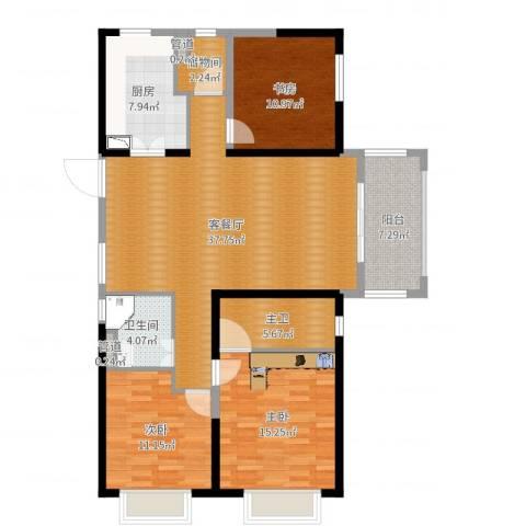 明园九龙湾3室2厅1卫1厨128.00㎡户型图