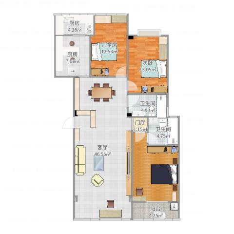 银河花园14012室1厅2卫2厨144.00㎡户型图