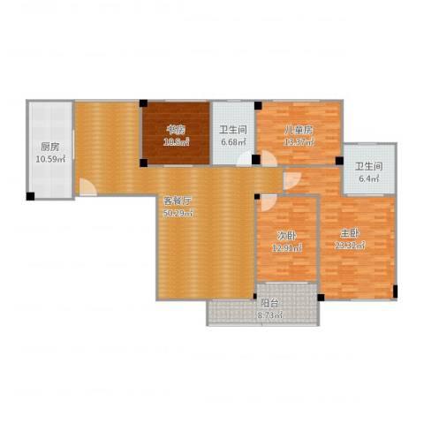 汇源豪庭(高明)4室2厅2卫1厨179.00㎡户型图