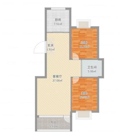 南郡天下2室2厅1卫1厨100.00㎡户型图