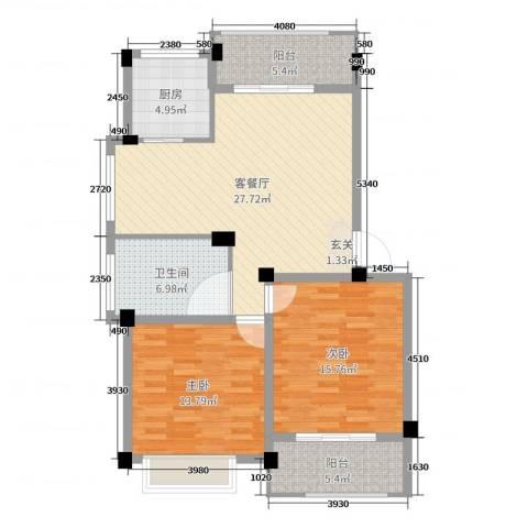 伊美翡翠城2室2厅1卫1厨100.00㎡户型图