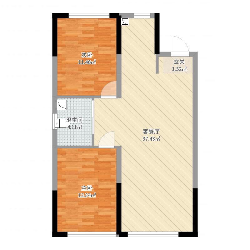 美的城93.00㎡B1户型2室2厅1卫1厨-副本户型图