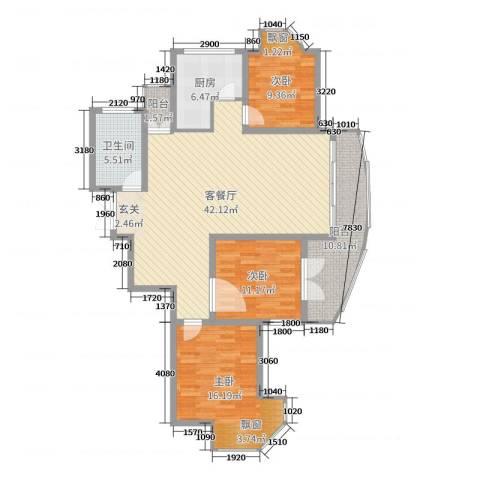 金汇国际3室2厅1卫1厨129.00㎡户型图