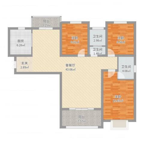 港岛玫瑰园3室2厅3卫1厨129.00㎡户型图