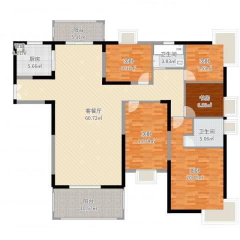 鸿景园5室2厅2卫1厨189.00㎡户型图
