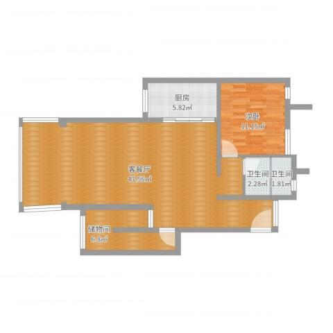 环湖花园小区1室2厅2卫1厨94.00㎡户型图