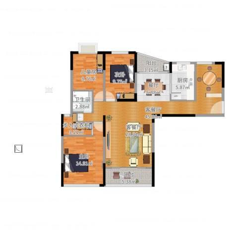 天瑞国际3室2厅1卫1厨117.00㎡户型图