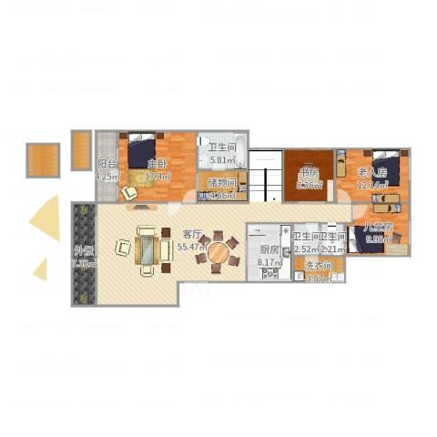 金科廊桥水乡别墅4室1厅3卫1厨184.00㎡户型图