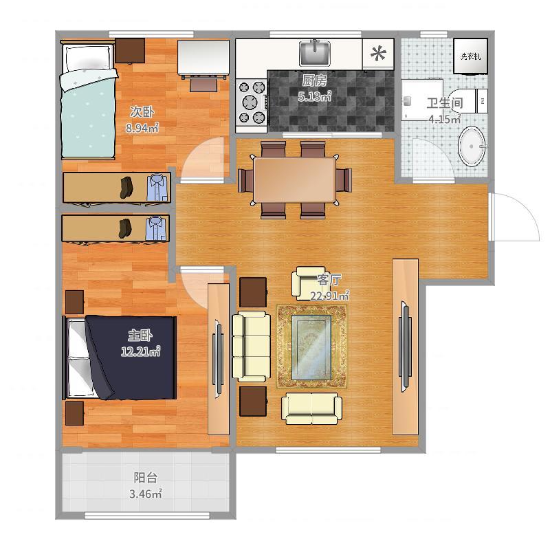 荣乐园5.6号楼85㎡户型图