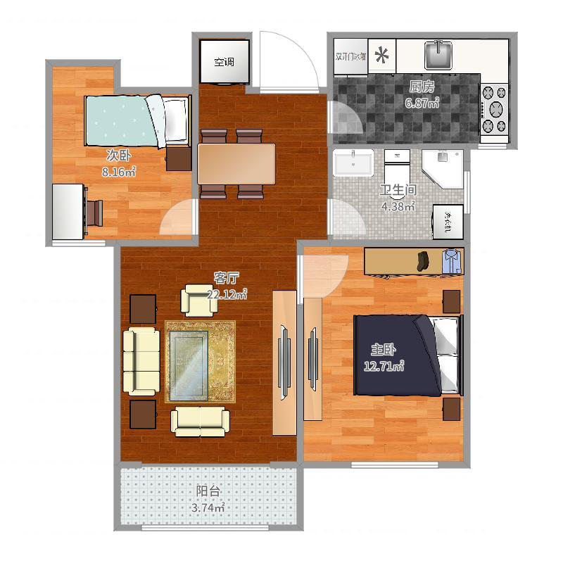 荣乐园5.6号楼83㎡(E2)户型图