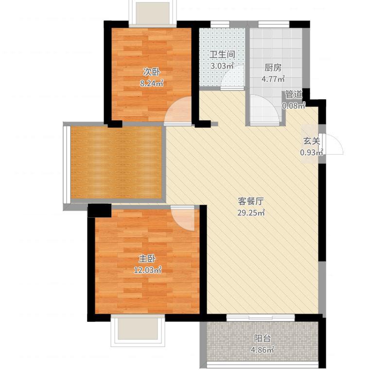 绿地璀璨天城87.00㎡79#A1户型3室3厅1卫1厨-副本户型图