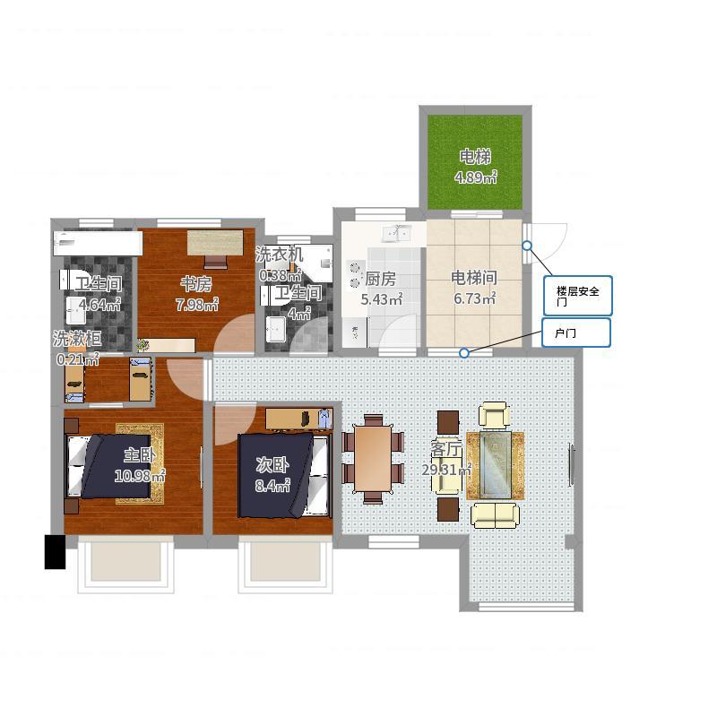 112平三室两厅一厨两卫户型图