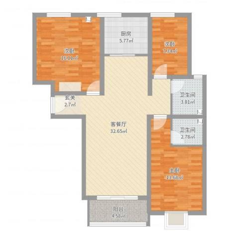 凌透花园二期3室2厅2卫1厨108.00㎡户型图