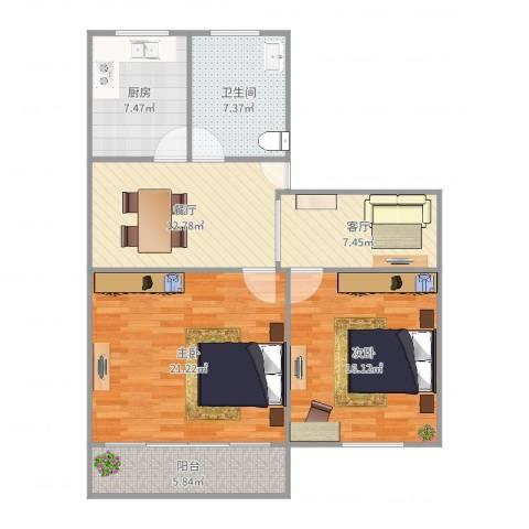 华佳花园2室2厅1卫1厨98.00㎡户型图