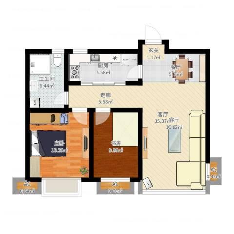 嘉盛维纳阳光2室1厅1卫1厨92.00㎡户型图