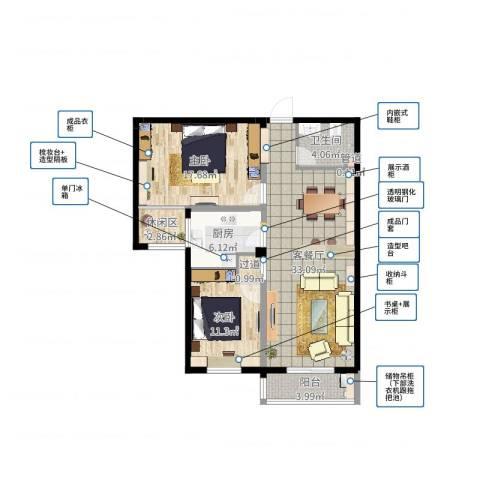 太子花苑2室2厅1卫1厨100.00㎡户型图