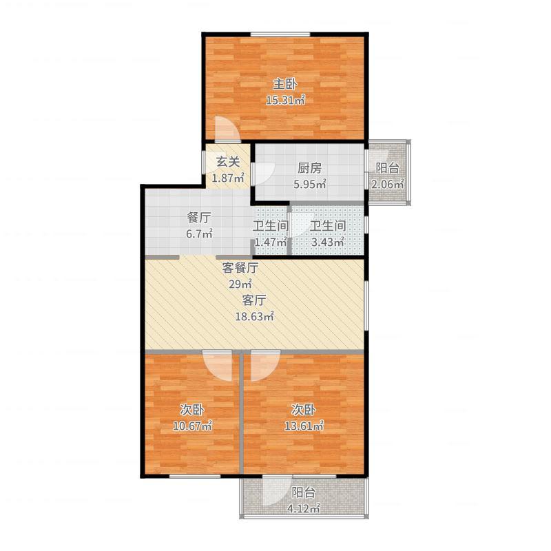 建东苑小区90.91㎡3室1厅1卫户型-副本户型图