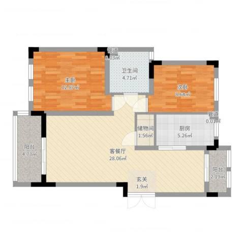 加州洋房2室2厅1卫1厨85.00㎡户型图